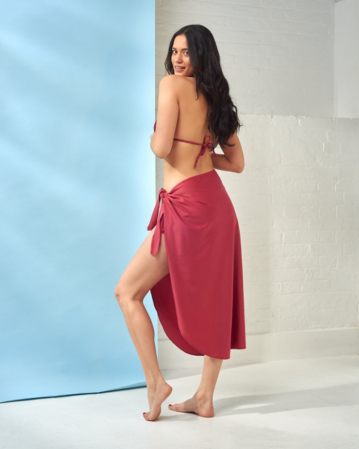 CIA MARITIMA | BLAIZ | Ruby Red Long Canga Beachwear