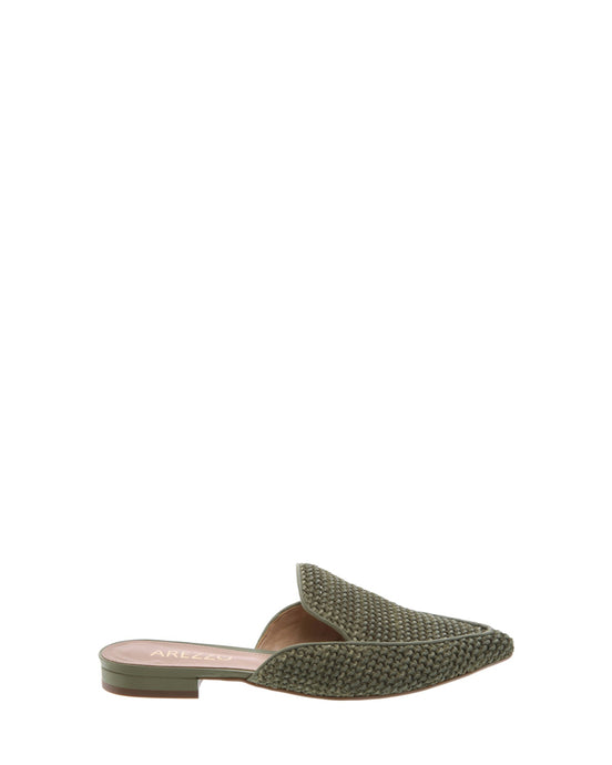 Green Raffia Pointed Mules