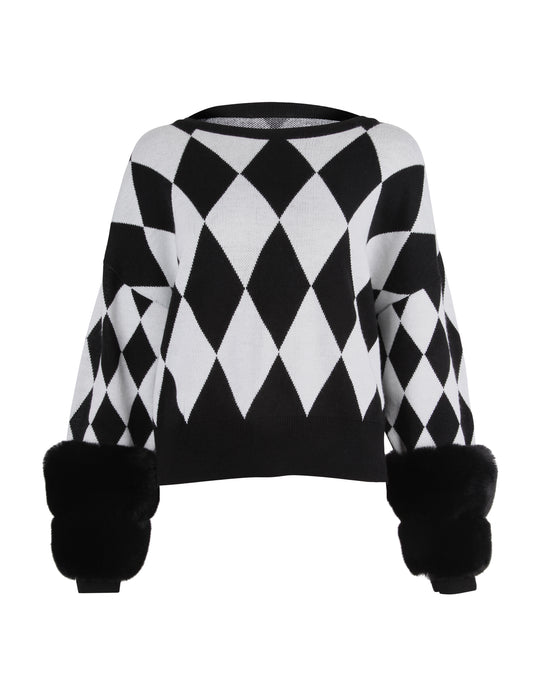 Diamond Monochrome Cuff Sweater