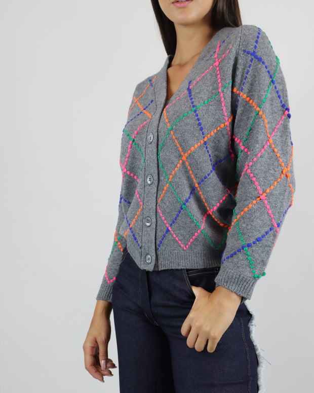 JUMPER 1234 | BLAIZ | CASHMERE GREY RAINBOW CARDIGAN