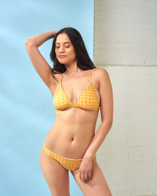 Yellow Palm Triangle Bikini Top
