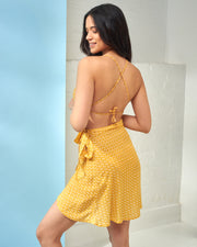 Yellow Palm Wrap Mini Skirt