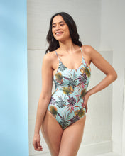 Load image into Gallery viewer, Turquoise Palm Print Swimsuit