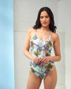 Turquoise Palm Print Swimsuit