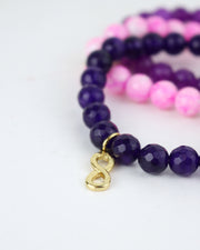 Infinity Lotus Bracelet Set in Purple