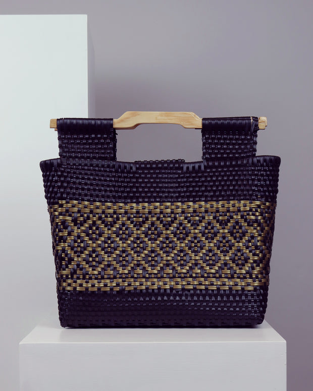 Eliseo Wooden Handle Woven Tote