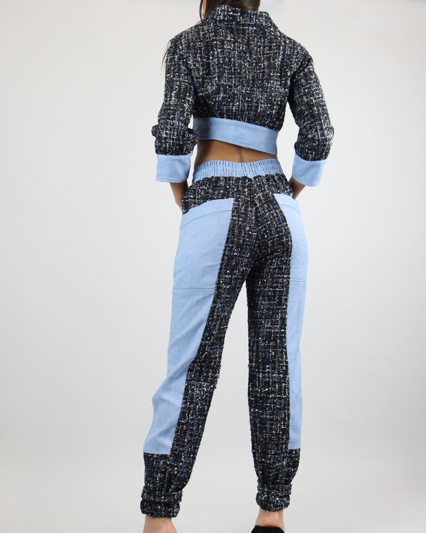 SKAZI | BLAIZ | BLUE TWEED CROP JACKET
