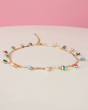 227 | BLAIZ | MULTICOLOUR GOLD EVIL EYE stone anklet