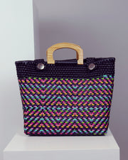 OAXACA | BLAIZ | Florencia Black Multicolour Wooden Handle Woven Tote