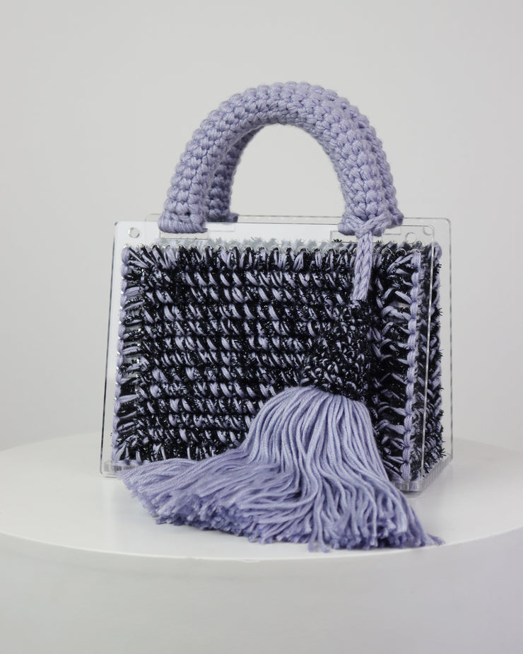 227 | BLAIZ | Lilac Tassel Perspex Acrylic Cross Body Handbag Knitted