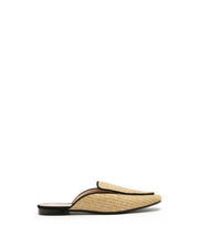 Natural Raffia Black Trim Mules