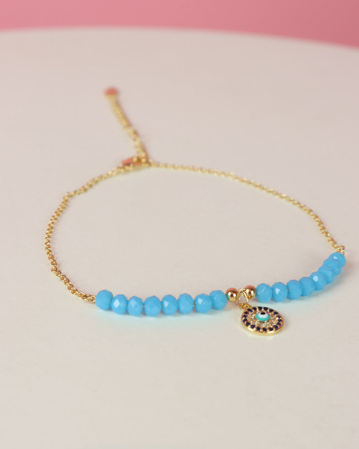 227 | BLAIZ | GOLD blue stone evil eye anklet