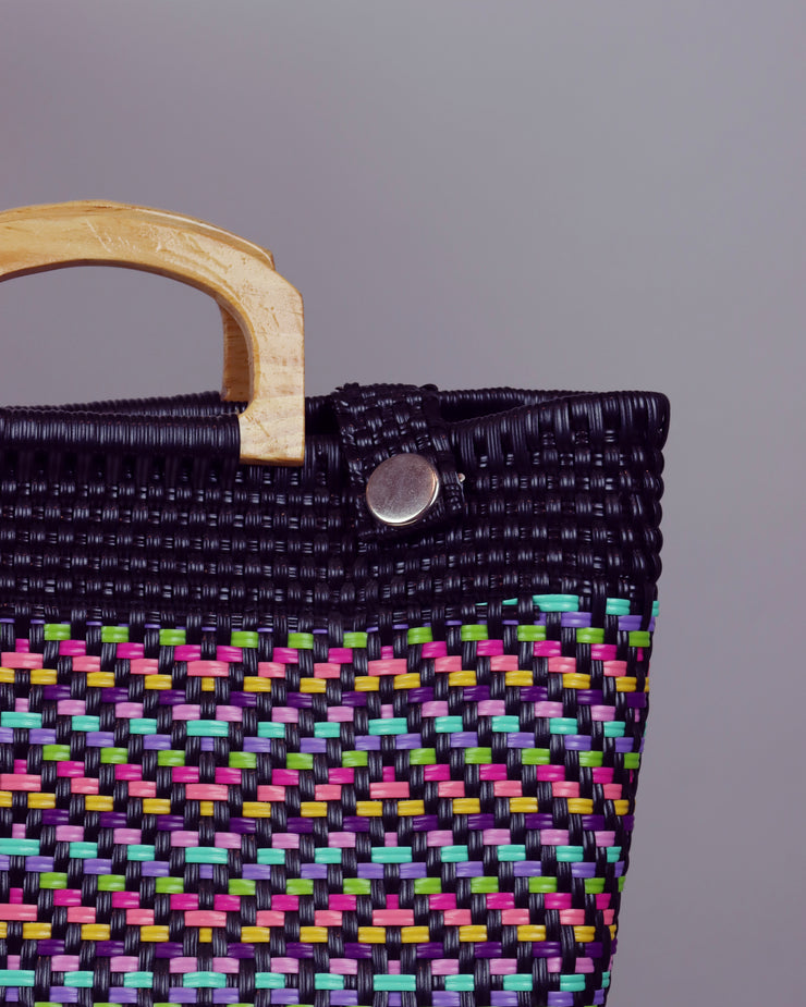Florencia Wooden Handle Woven Tote