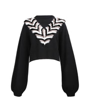 Load image into Gallery viewer, Black V-Necklace Cropped Sweater