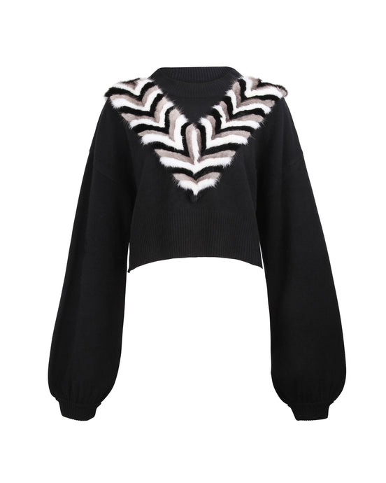 Black V-Necklace Cropped Sweater