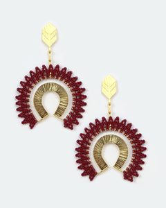Aim Gold & Burgundy Earrings