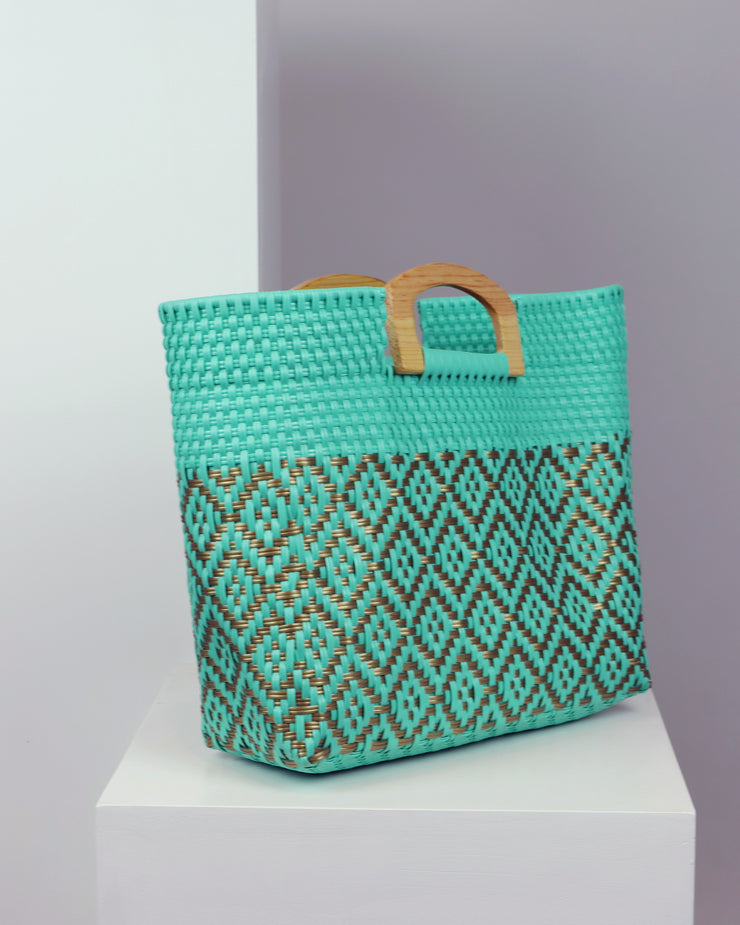Octavia Wooden Handle Woven Tote