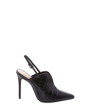 Black Crocodile Sling Back Stilettos