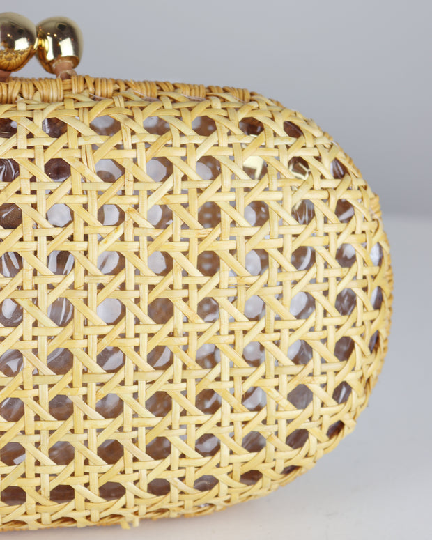 Light Wicker Olivine Clutch Bag