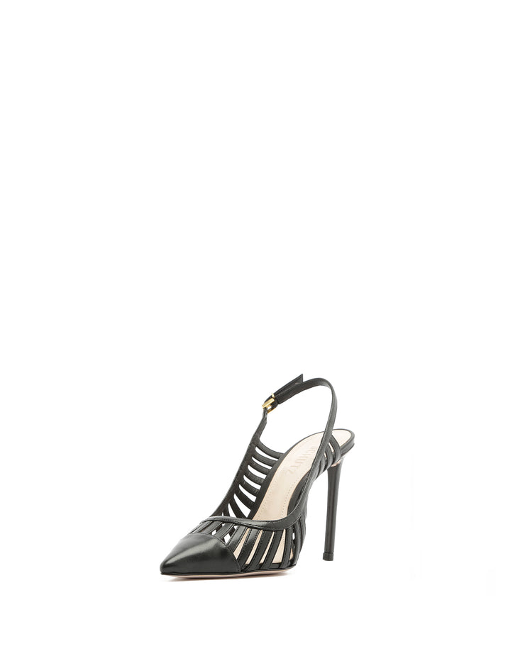 SCHUTZ | BLAIZ | Black Cutout Leather Slingback Stiletto Heels