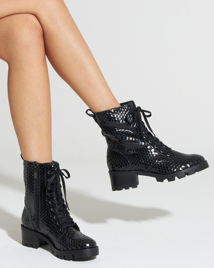SCHUTZ | BLAIZ | Black Snake Lace Up Ankle Boots Army Boots Autumn