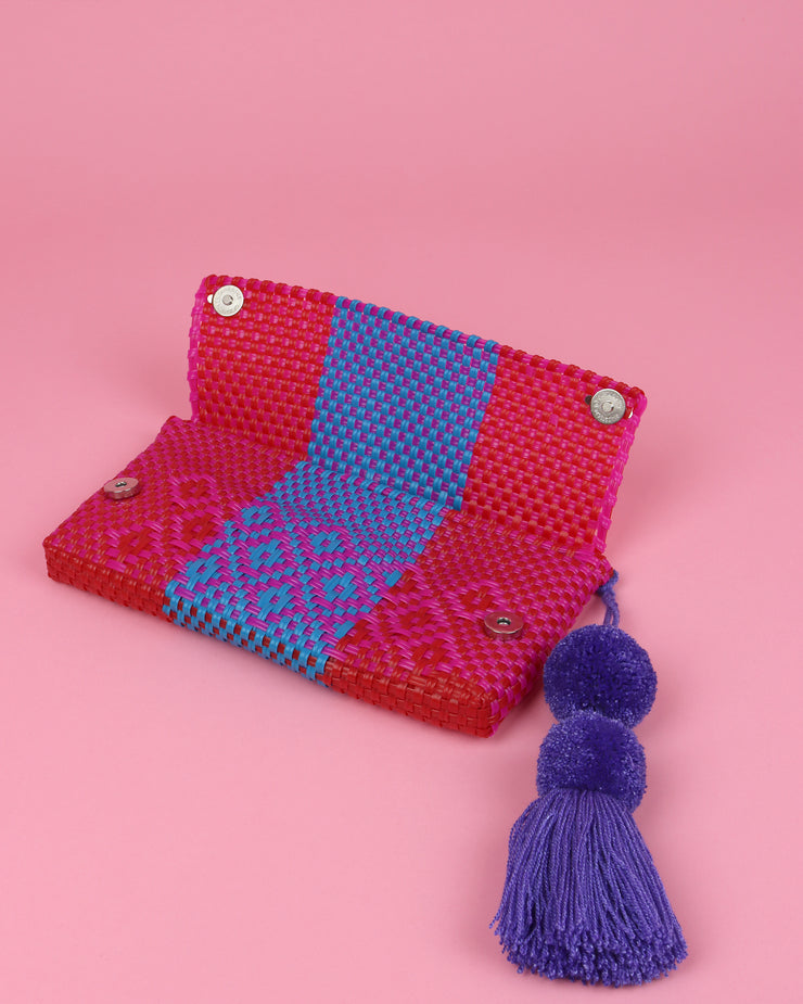 OAXACA | BLAIZ | Pink, Blue & Red Pom Pom Clutch