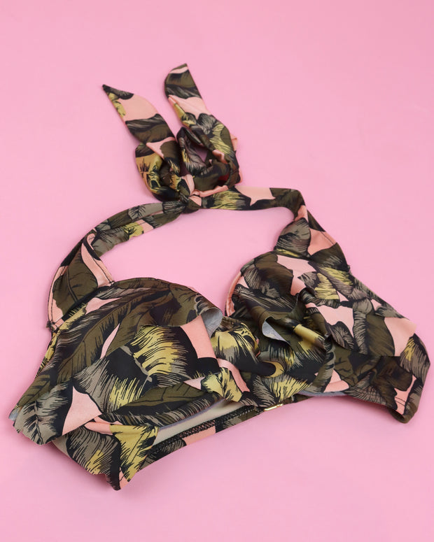 Tropical Leaves Cup Bikini Top