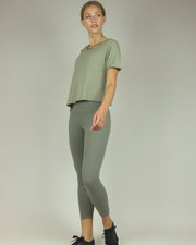 Khaki Green High-Waisted Leggings