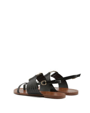 AREZZO | BLAIZ | Black Leather Buckle Sandals Gold Croc Flats Summer Brown