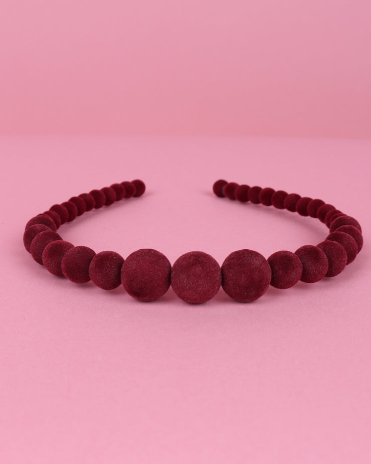 Burgundy Flocked Beaded Headband