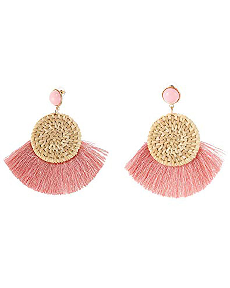 Pink Straw Tassel Earrings