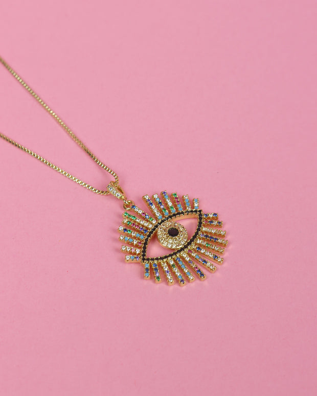 227 | BLAIZ | Rhinestone Evil Eye Necklace