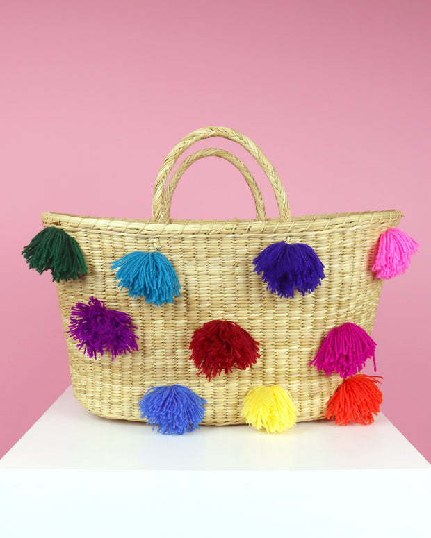 227 | BLAIZ | Multicolour Pom Pom Basket Bag