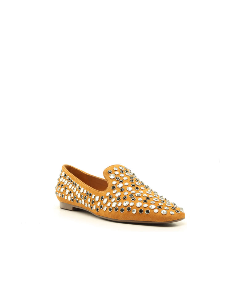 SCHUTZ | BLAIZ | Camel Studded Suede Flats Shoes Loafers