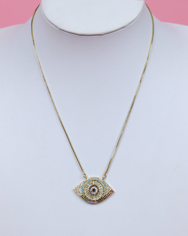 227 | BLAIZ | Evil Eye Medallion Necklace