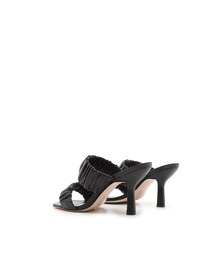 SCHUTZ | BLAIZ | Black Ruche Slip-On Heeled  Leather Mules