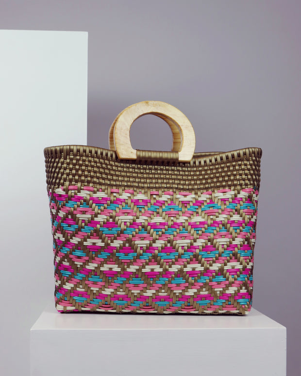 OAXACA | BLAIZ | Bautista Multicolour Wooden Handle Woven Tote