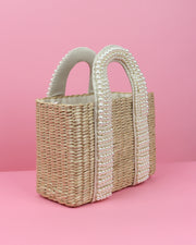 227 | BLAIZ | Pearl Beaded Straw Handbag Bag
