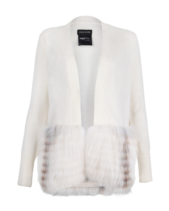 Cream Fur Trim Cardigan