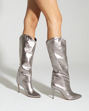 Metallic Silver High Heel Boots
