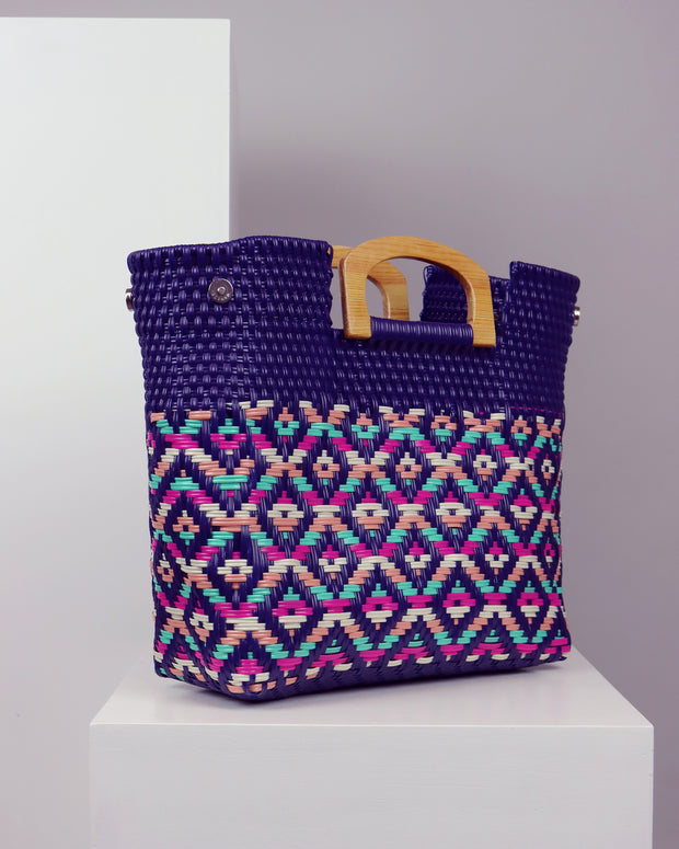 OAXACA | BLAIZ | Aitana Purple Multicolour Wooden Handle Woven Tote