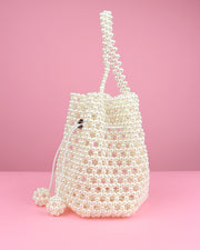 227 | BLAIZ | Pearl Beaded Basket Handbag