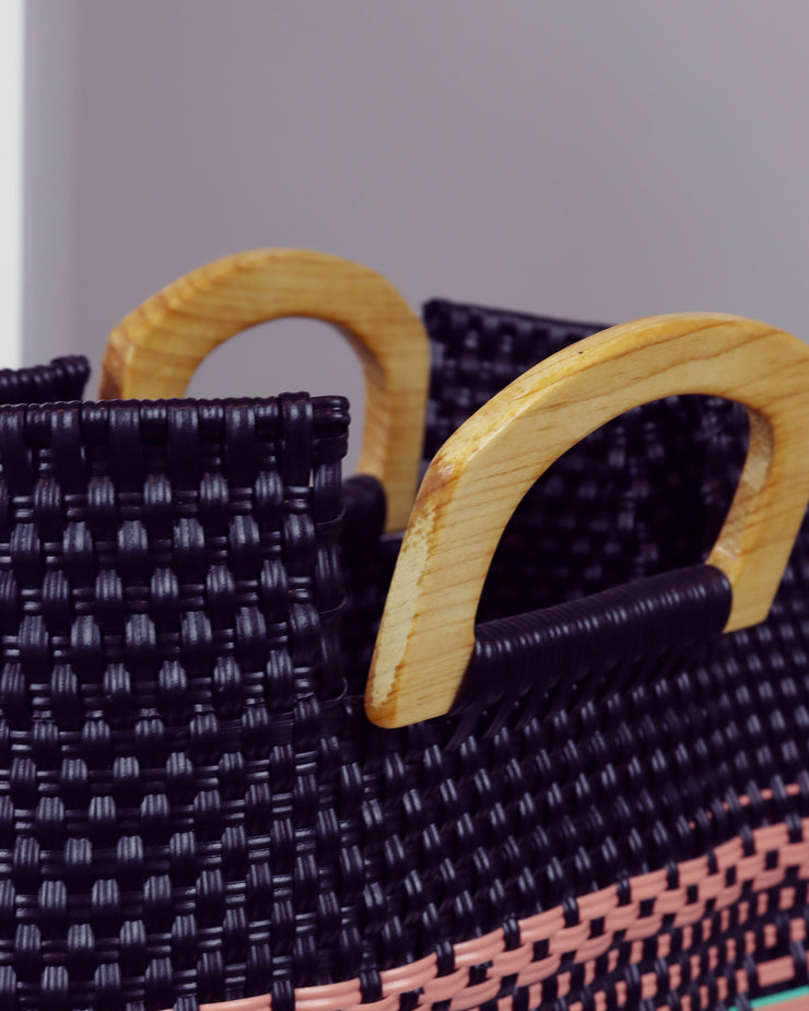 Dulce Wooden Handle Woven Tote