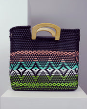 OAXACA | BLAIZ | Dulce Black Multicolour Wooden Handle Woven Tote