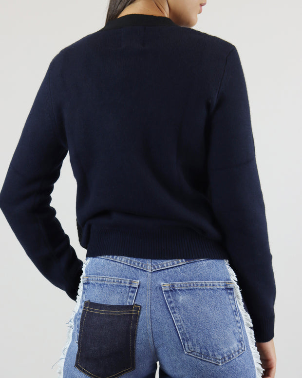 JUMPER 1234 | BLAIZ | NAVY BLUE BLACK CASHMERE CARDIGAN