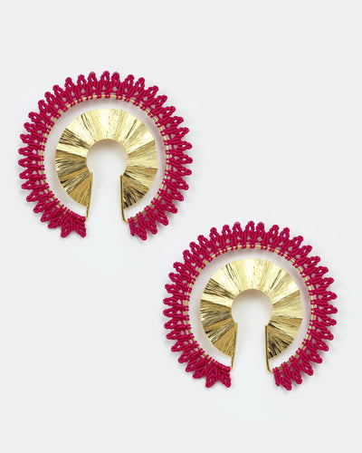 Empower Gold & Hot Pink Statement Earrings