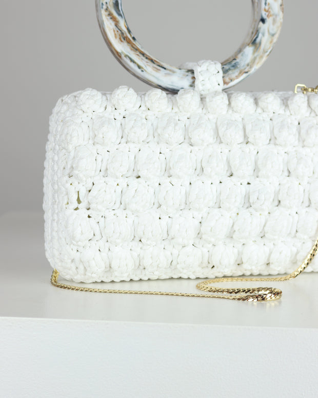 White Denise Popcorn Clutch
