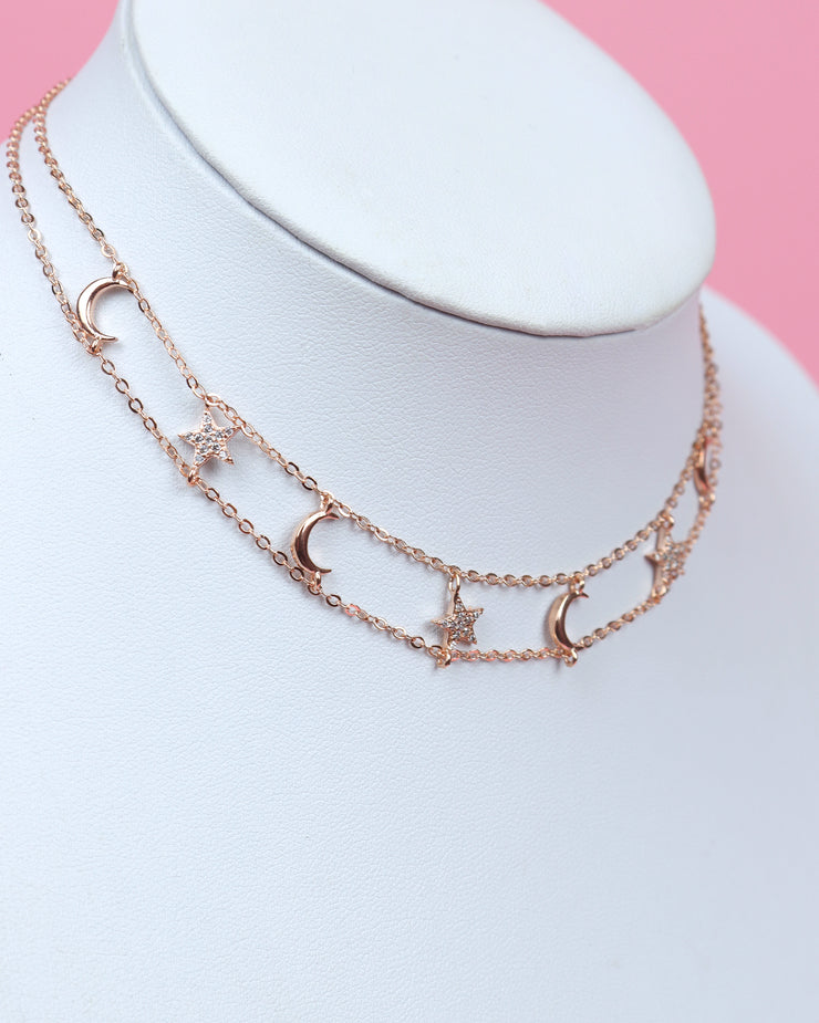 227 | BLAIZ | Rose Gold Moon & Star Double Row Choker