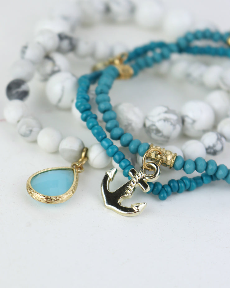 227 | BLAIZ | Anchor & Hamsa Hand Bracelet Set in Petrol Blue