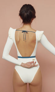 Ivory Agnes Frill Shoulder Swimsuit